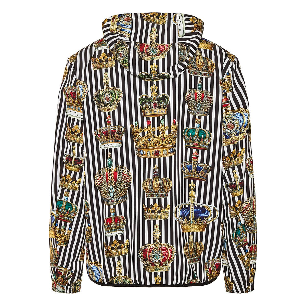 Crown printed striped nylon jacket