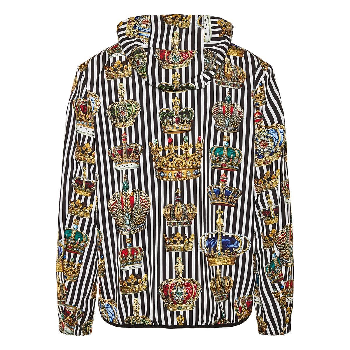 Crown printed striped nylon jacket