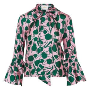 Happy Wrist bow-tie floral blouse