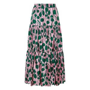 Big floral long tiered skirt