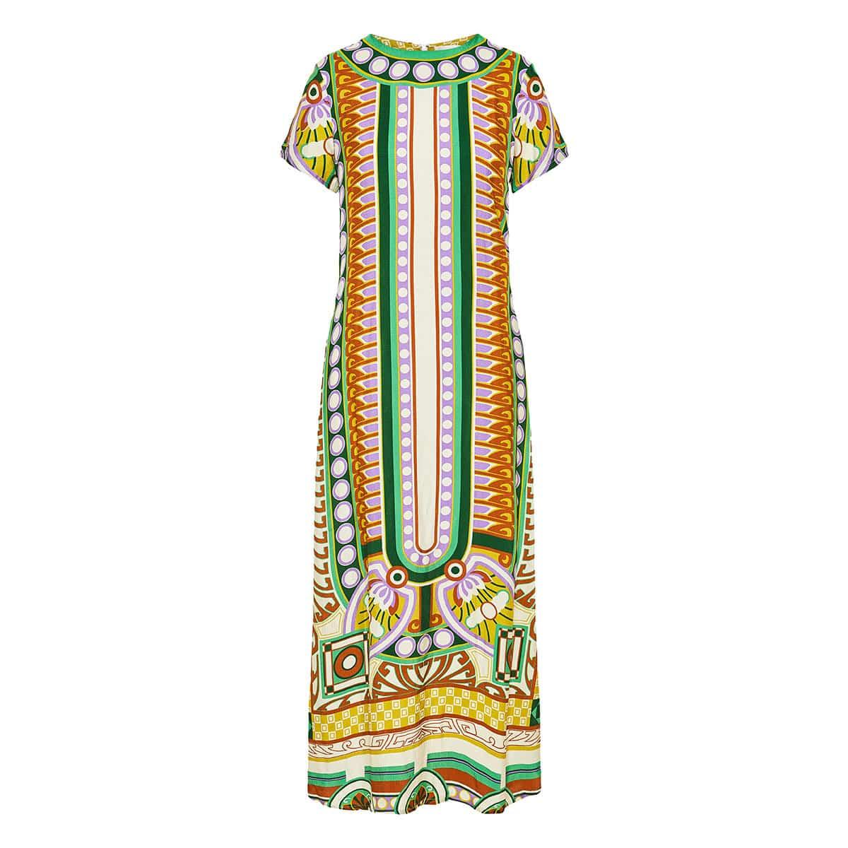 Swing long printed dress