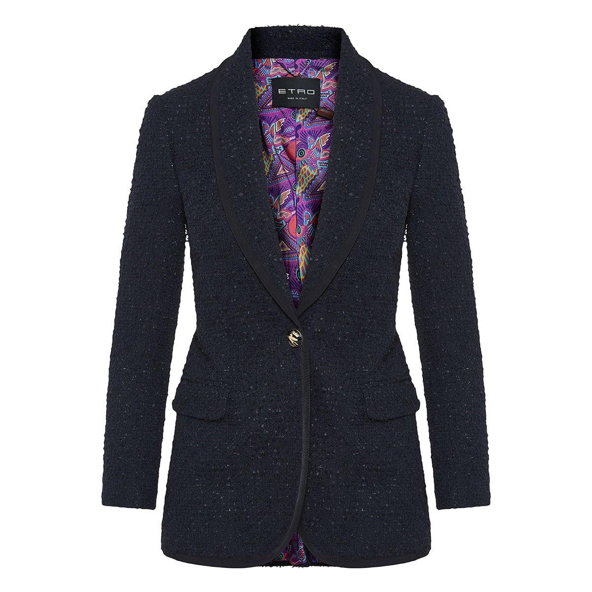 Single-breasted bouclé blazer