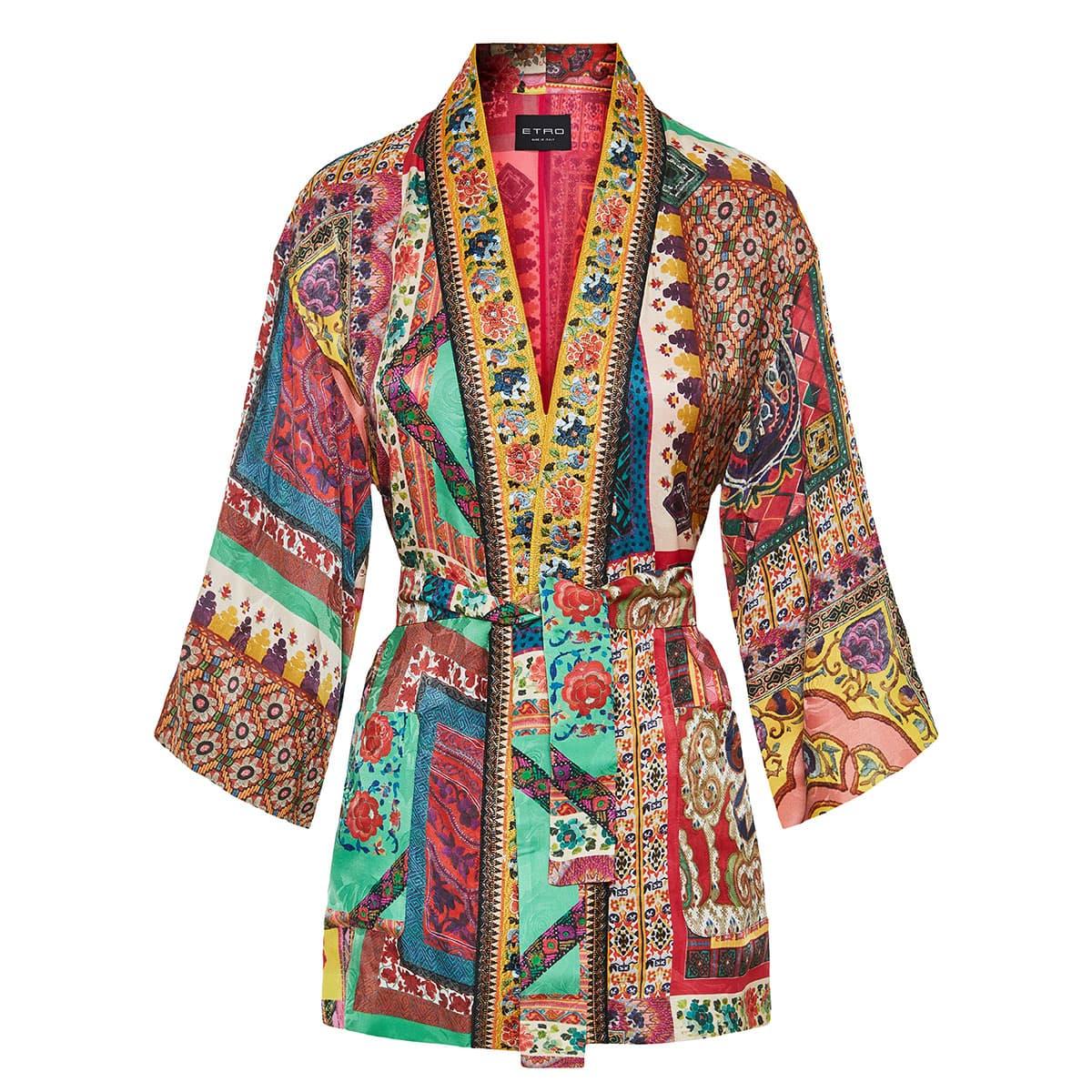 Patchwork-print jacquard kimono jacket