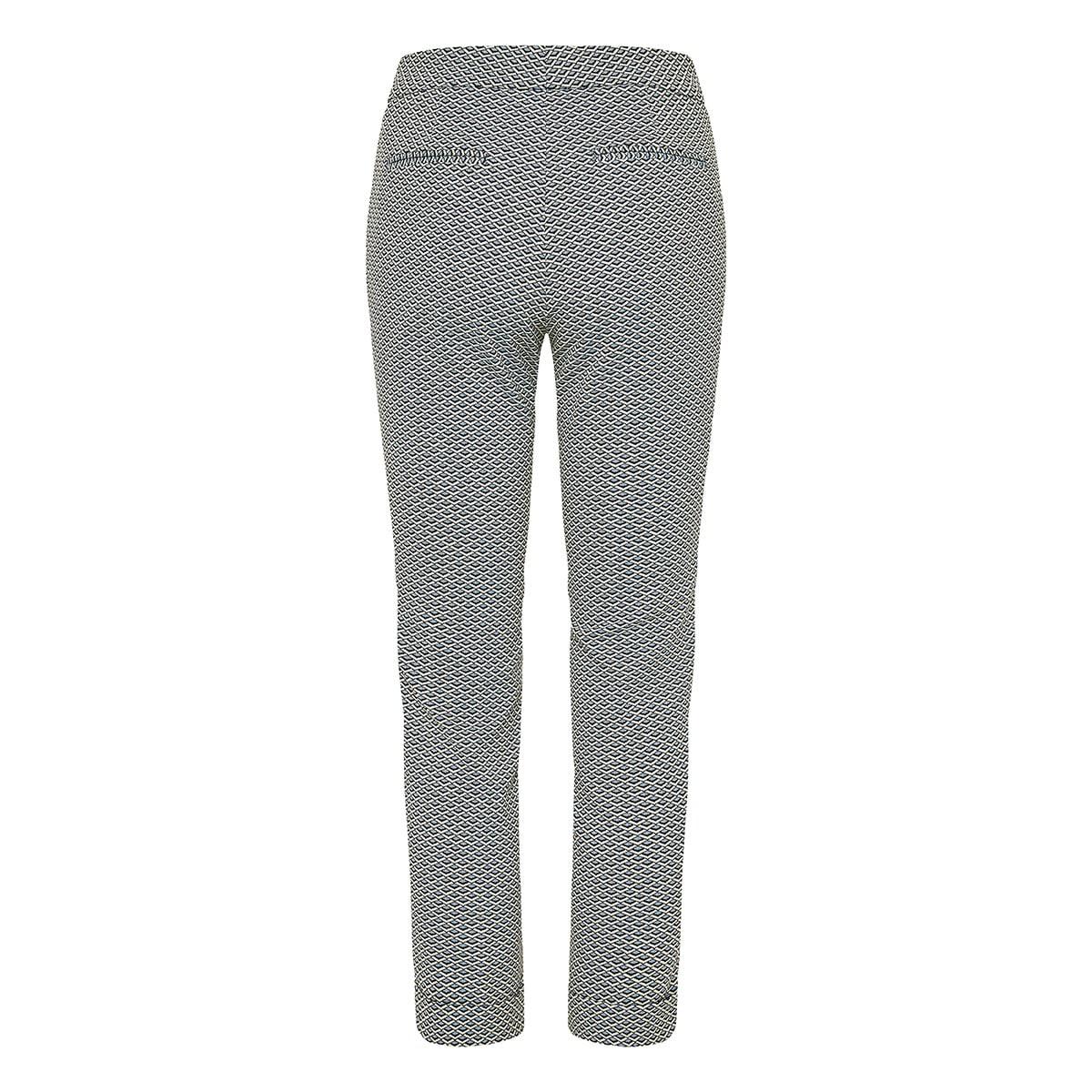 Geometric-print cropped jacquard trousers