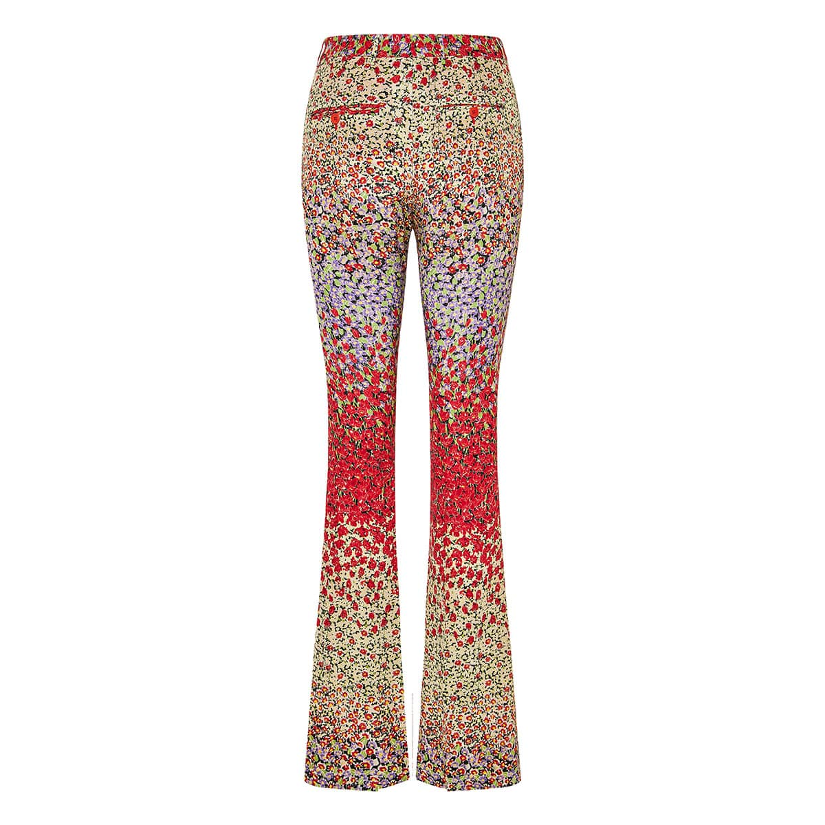Floral silk flared trousers