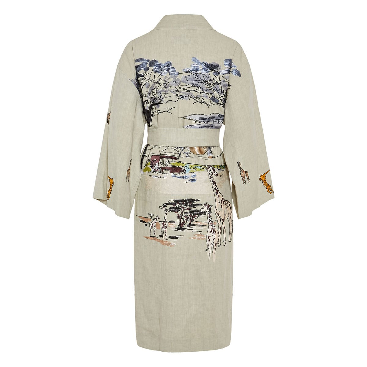 Malva embroidered linen robe-coat