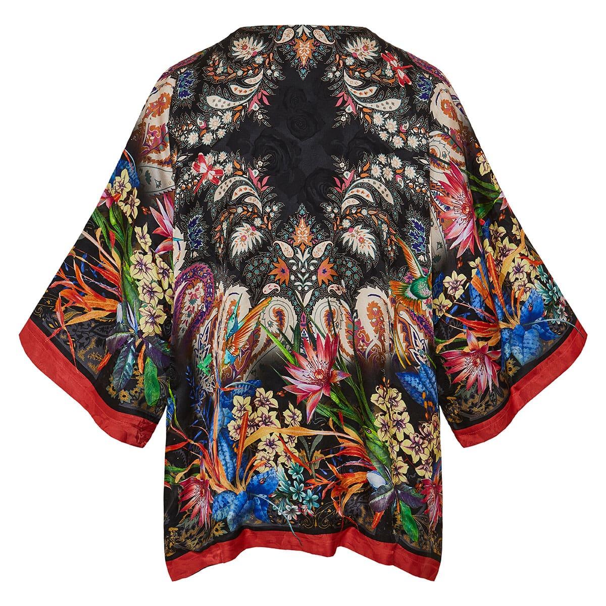 Tropical print silk kimono