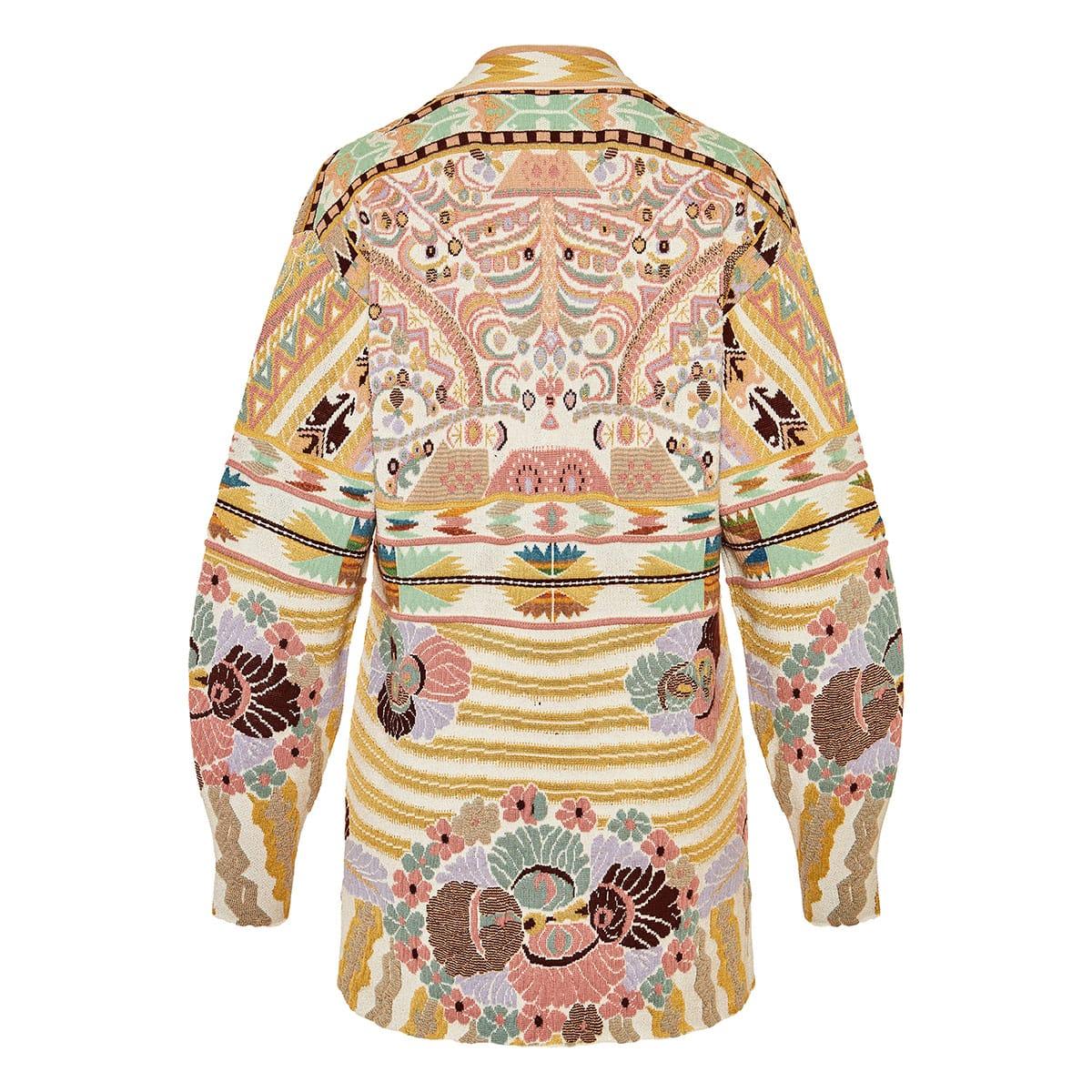 Oversized printed jacquard cardigan