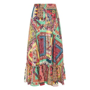 Printed long tiered skirt