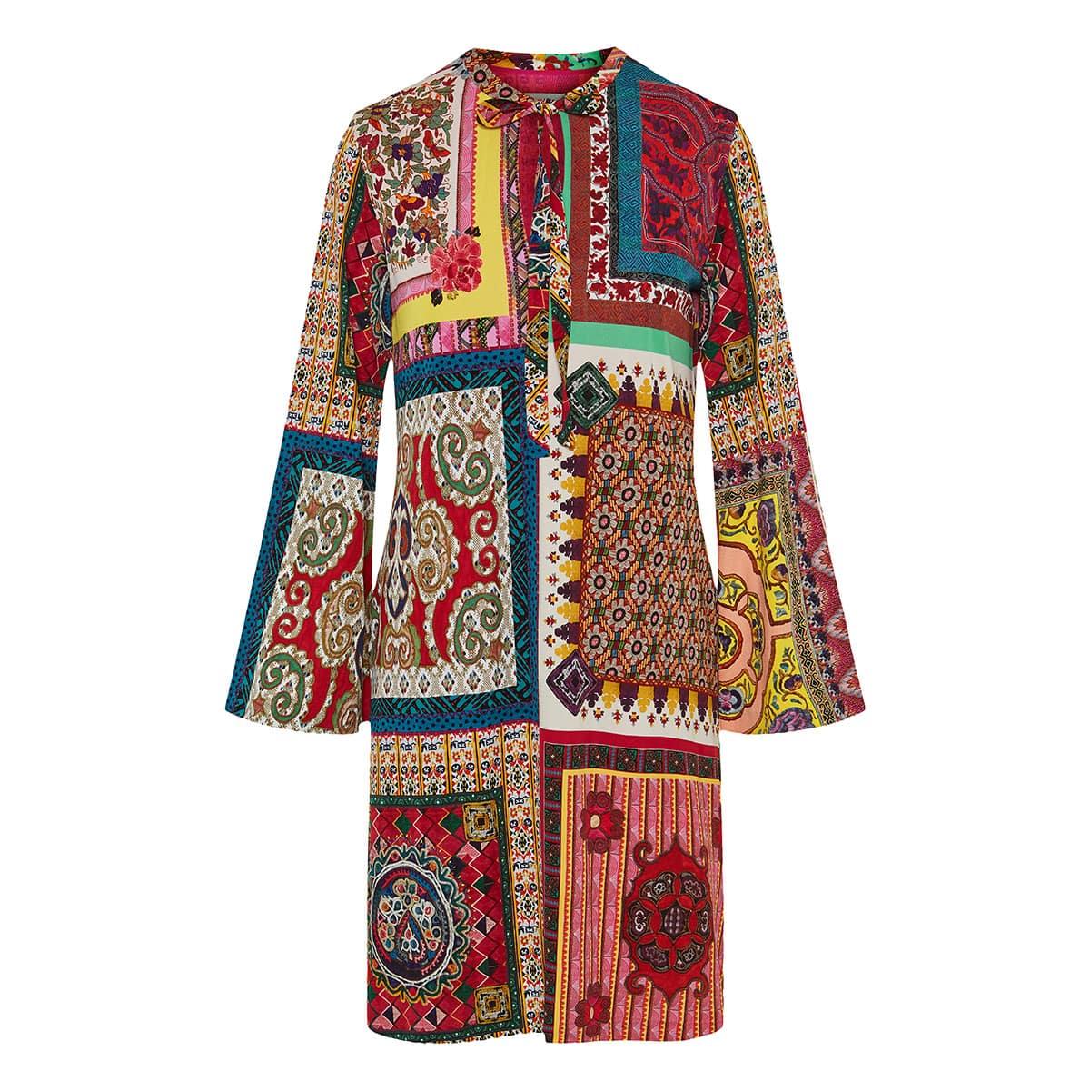 Patchwork print tunic dress