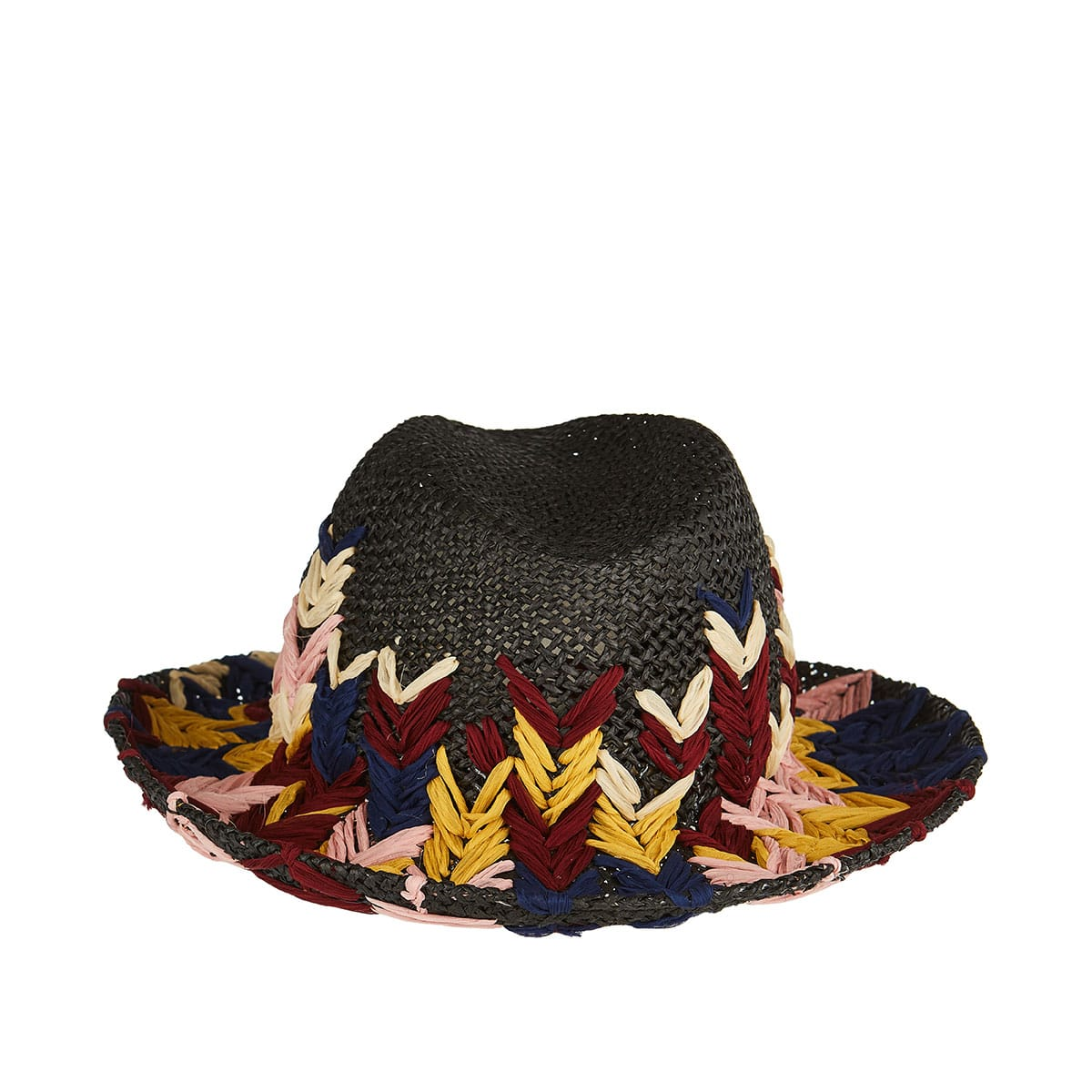 Interlaced silk and raffia hat