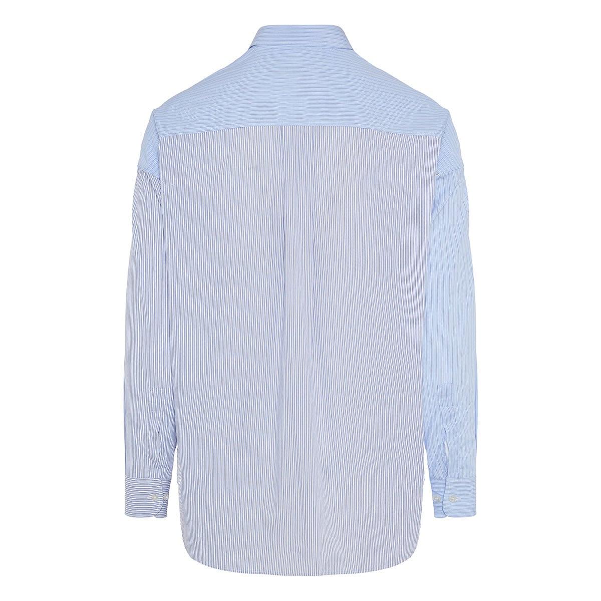 Asymmetric striped poplin shirt