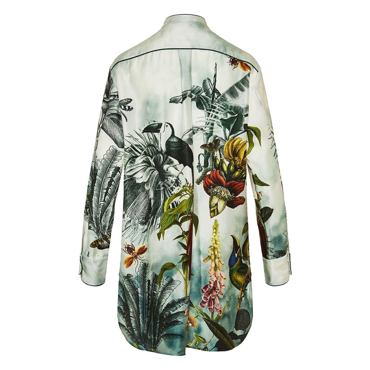 Gration longline printed silk shirt