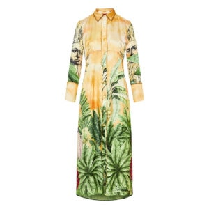 Tropical-print long silk shirt dress