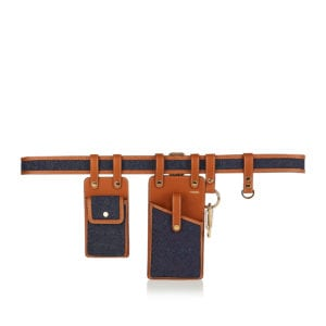 Multi-accessory denim and leather belt