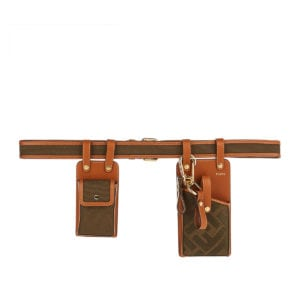 Multi-accessory canvas and leather belt