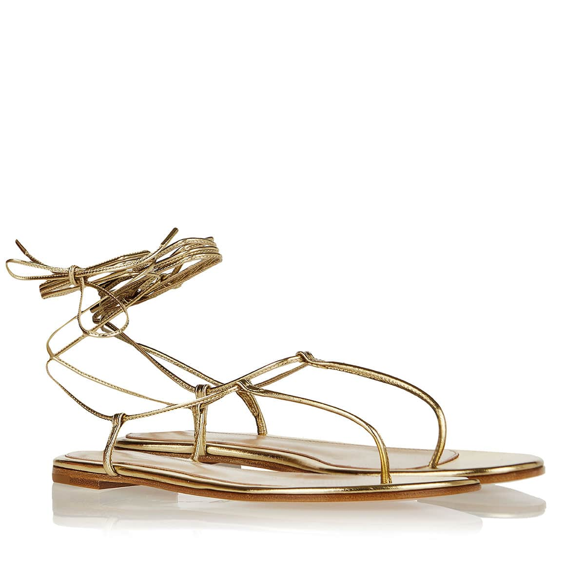 Gwyneth metallic-leather flat sandals