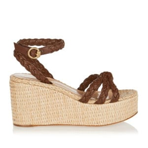 Braided leather wedges