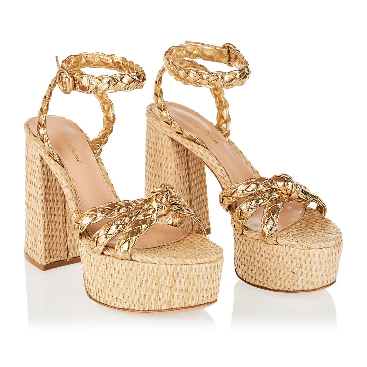 Kea 70 leather and raffia platform sandals