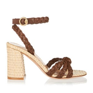 Leather and raffia sandals