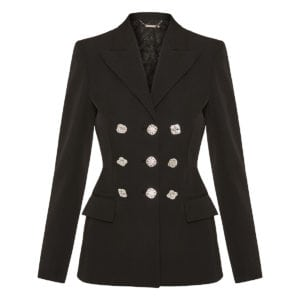 Wool blazer with jeweled buttons