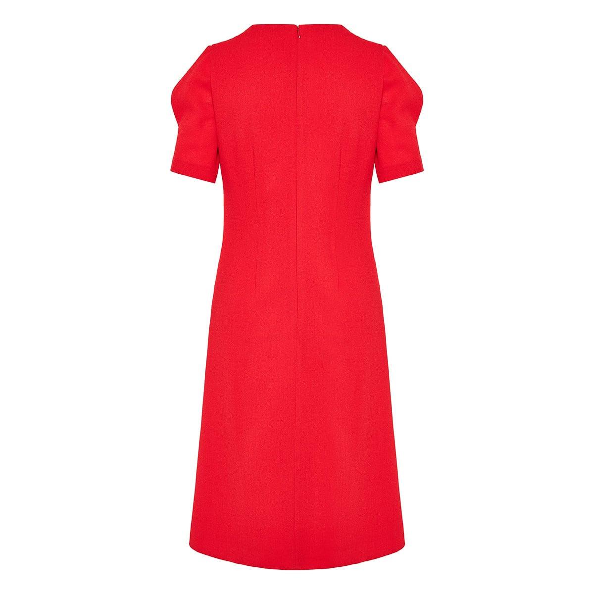 Puff-sleeved midi dress