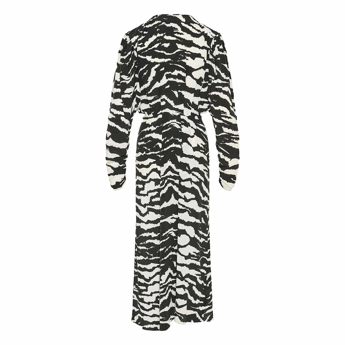 Zebra-printed pleated midi dress