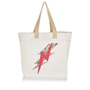 Lightning bolt canvas tote