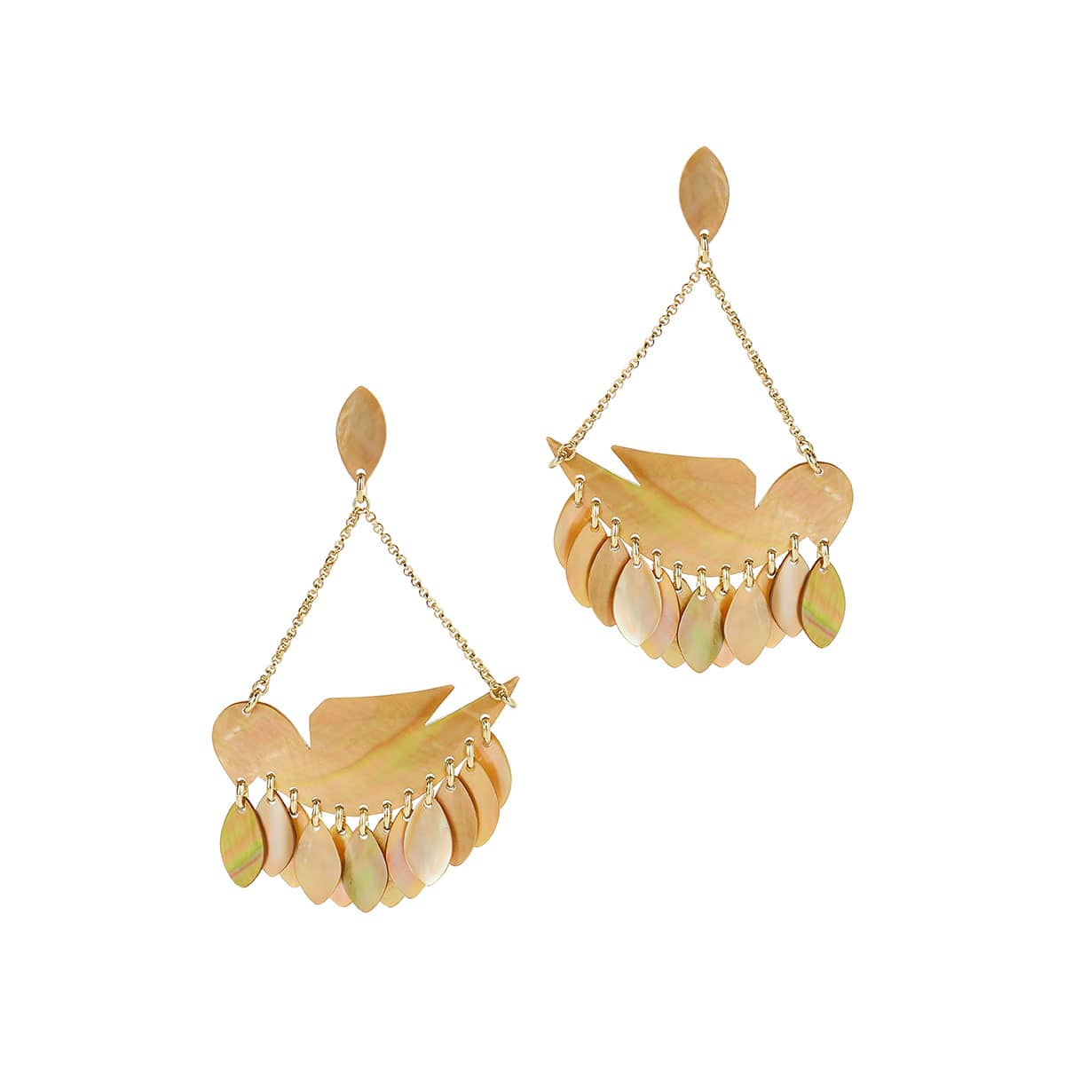 Birdy seashell drop earrings