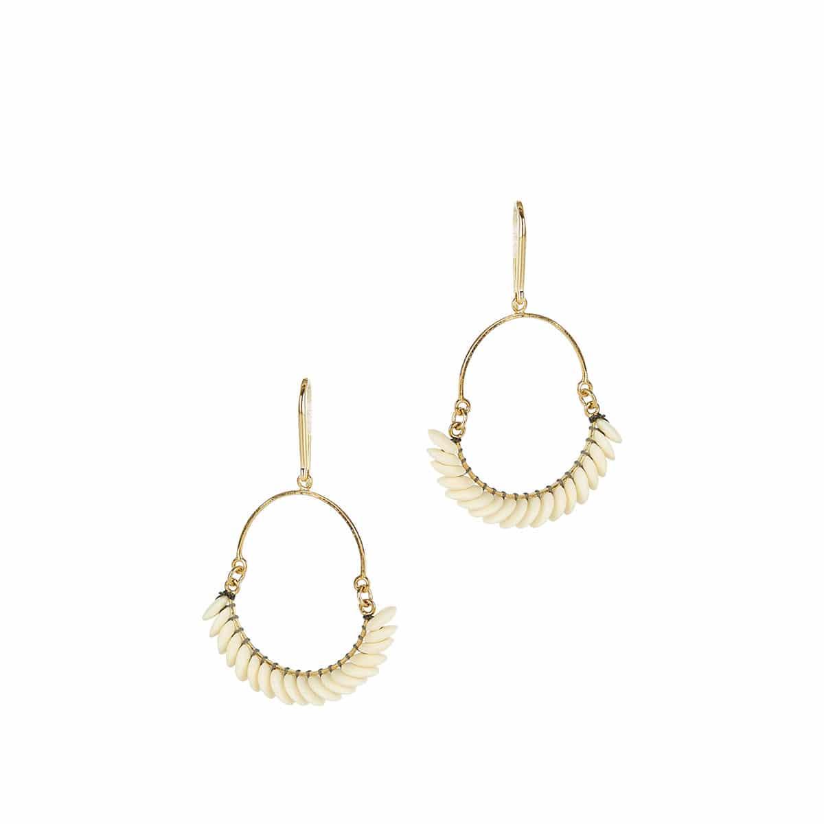 Tribal beaded hoop earrings