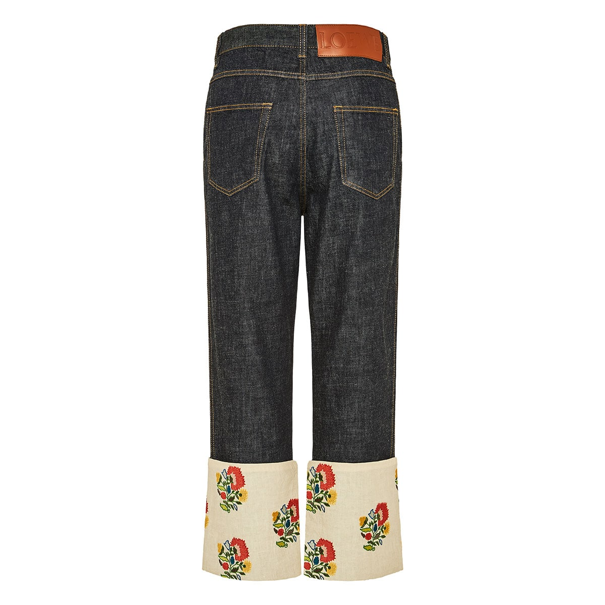 Cropped jeans with floral-embroidered hems
