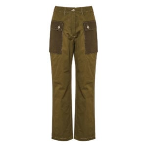 High-waist twill cargo trousers