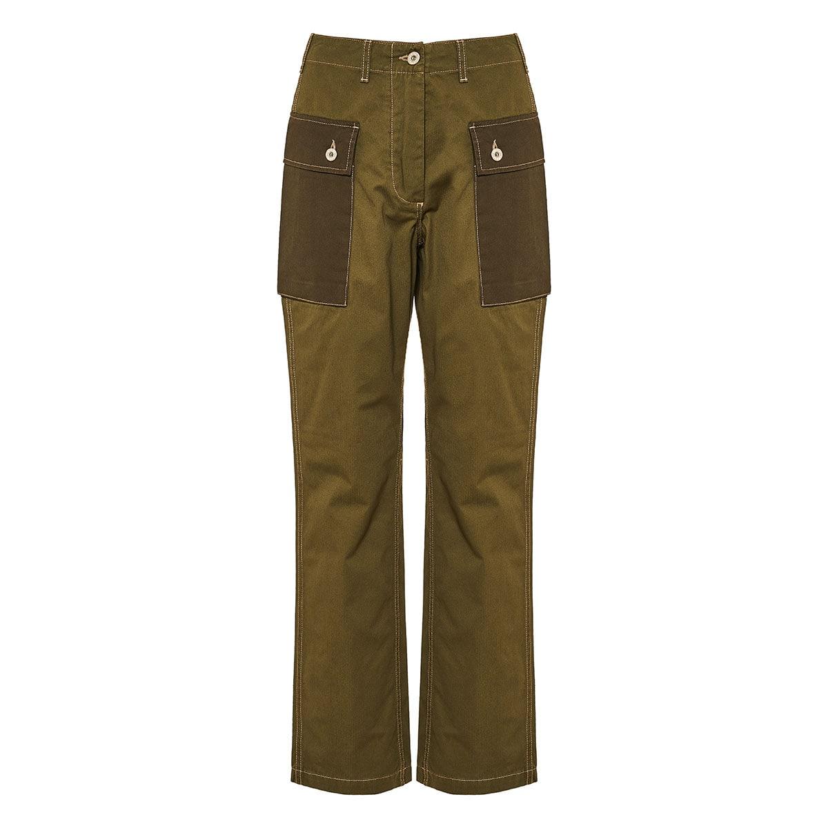 High-waist twill cargo trousers