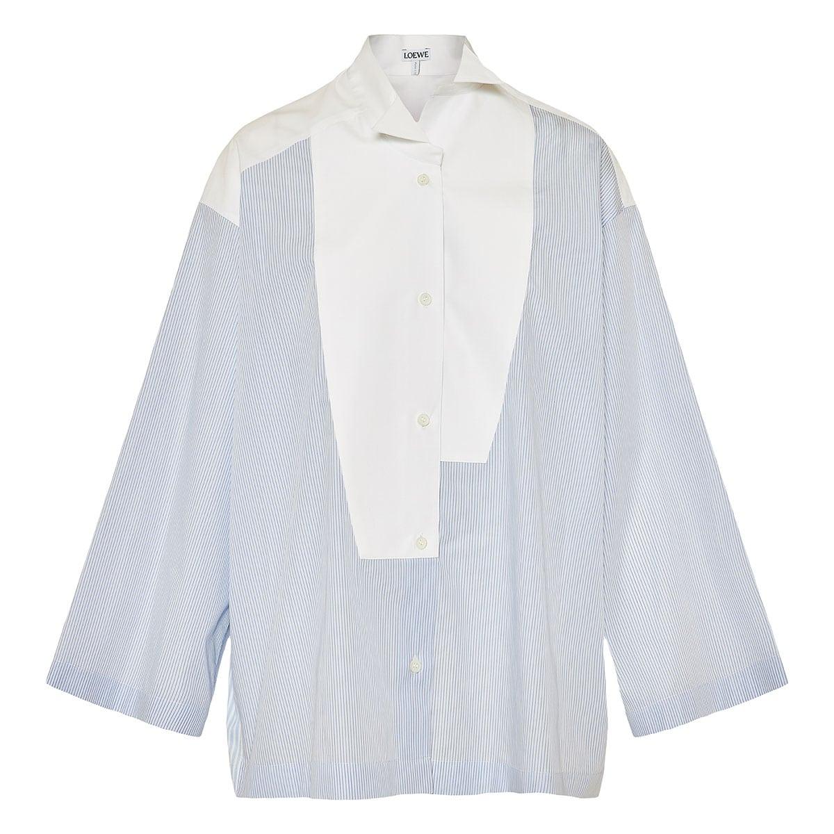 Oversized asymmetric striped shirt