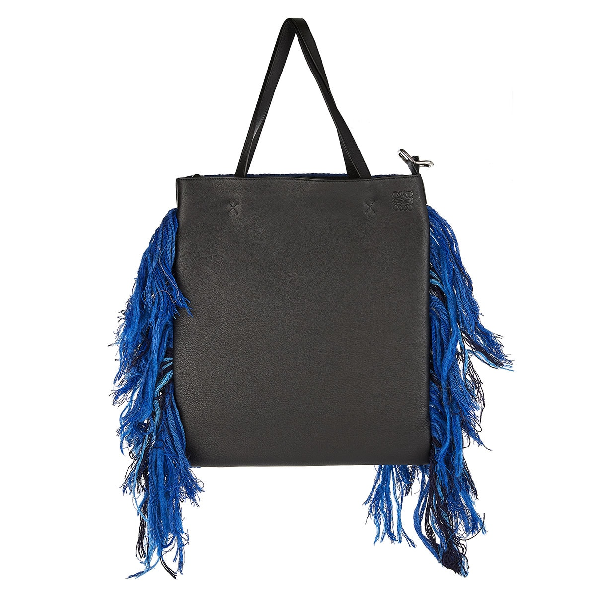 Dragon wool-embroidered leather tote