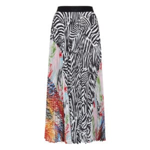 Patchwork print pleated midi skirt