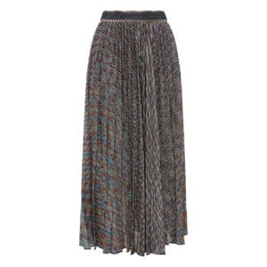 Lurex pleated midi skirt