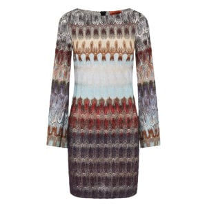Abstract-print knitted mini dress