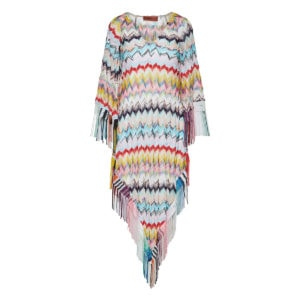 Abstract print fringed crochet kaftan