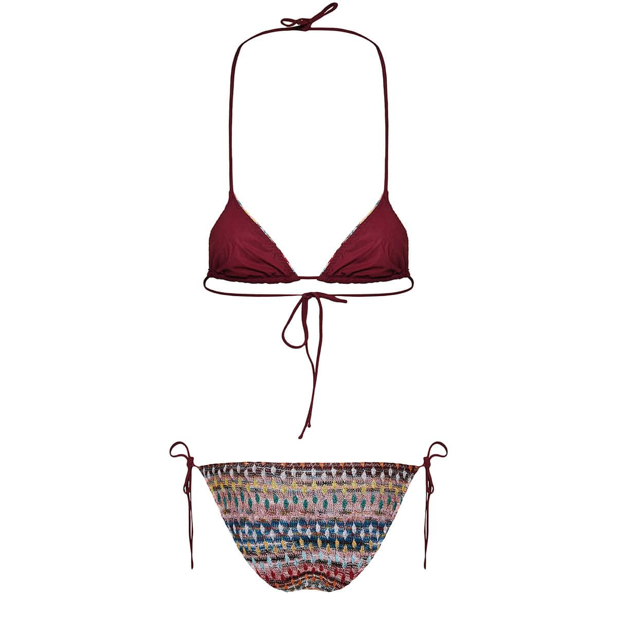 Abstract print knitted bikini