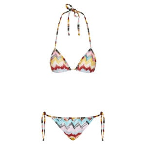 Abstract print crochet triangle bikini