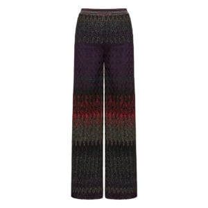 Lurex-knitted wide-leg trousers
