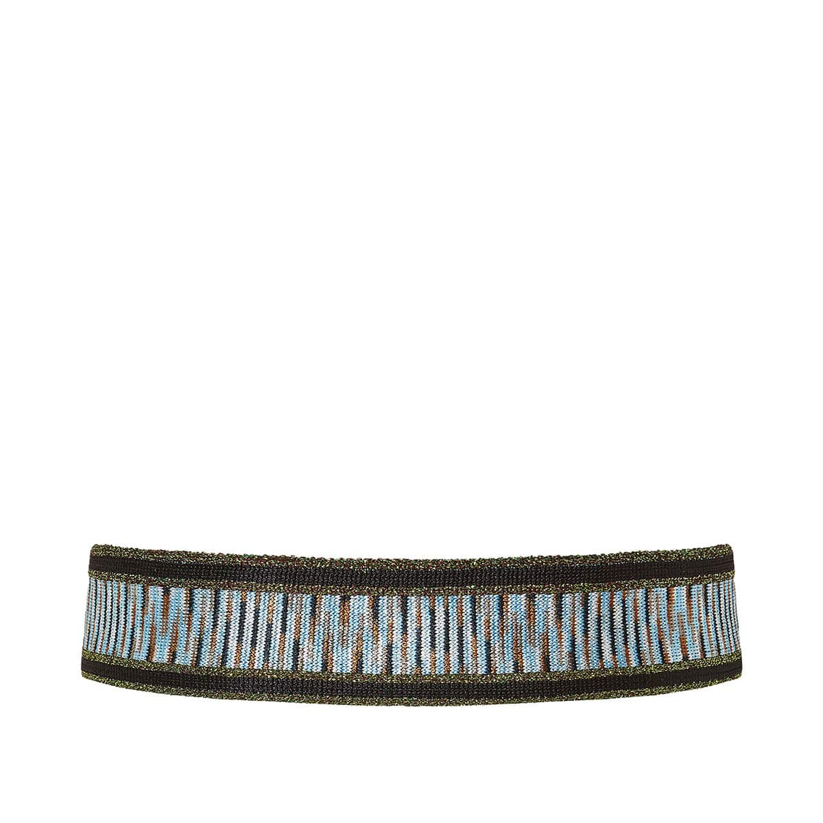 Elasticated lurex-knitted belt