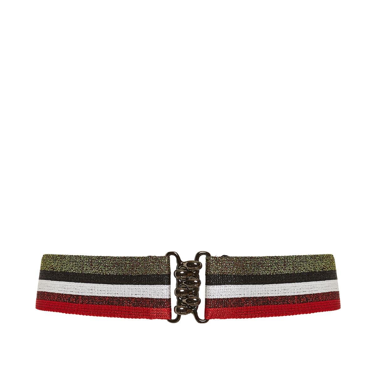 Striped lurex-knitted belt