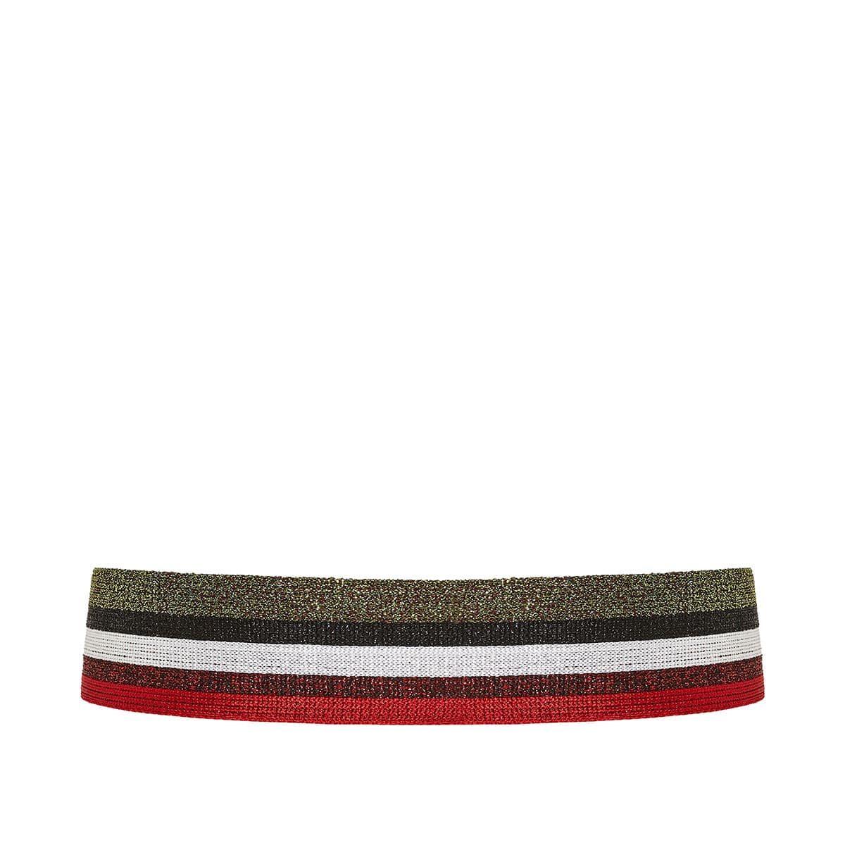 Striped lurex-knitted belt