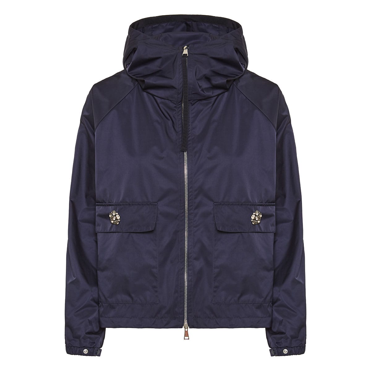 Nylon jacket with jeweled buttons