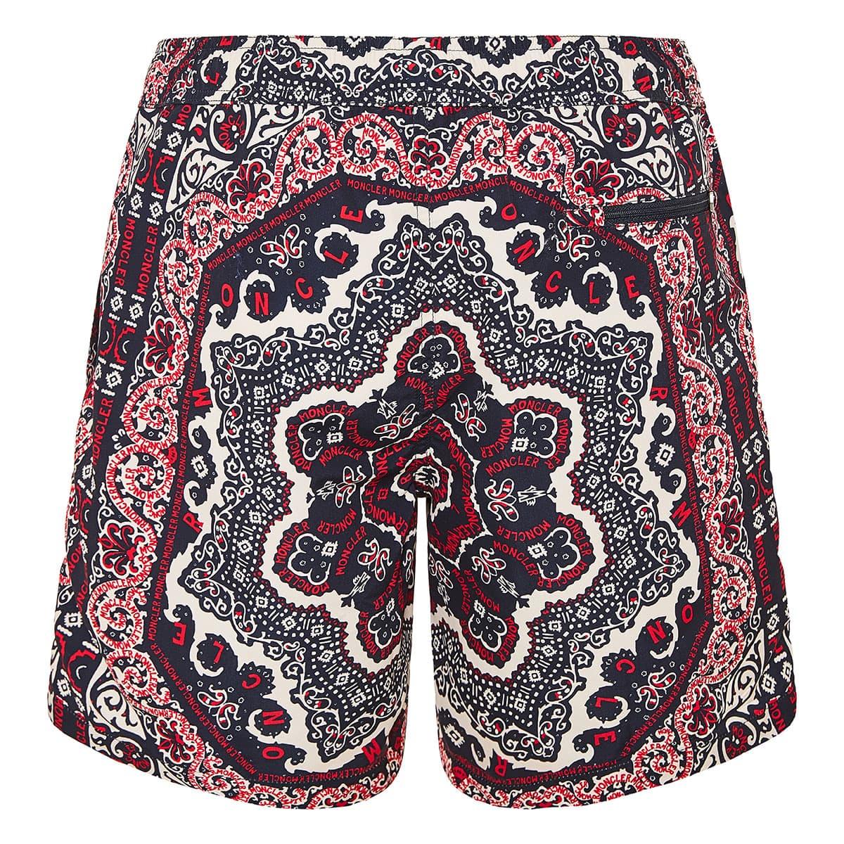Bandana print logo swim shorts