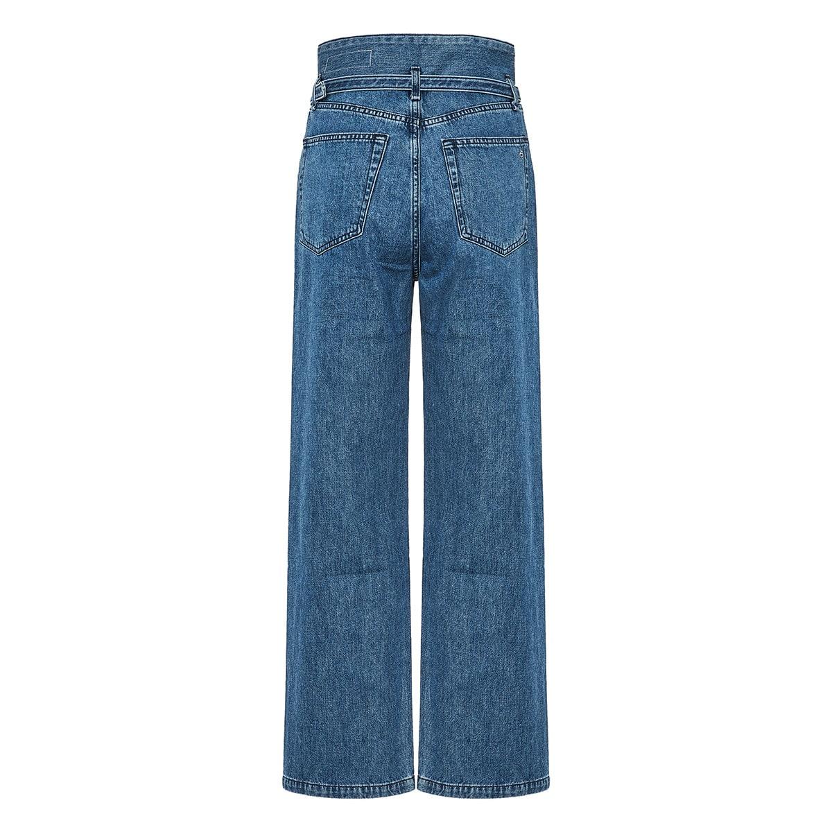 Paper bag wide-leg jeans