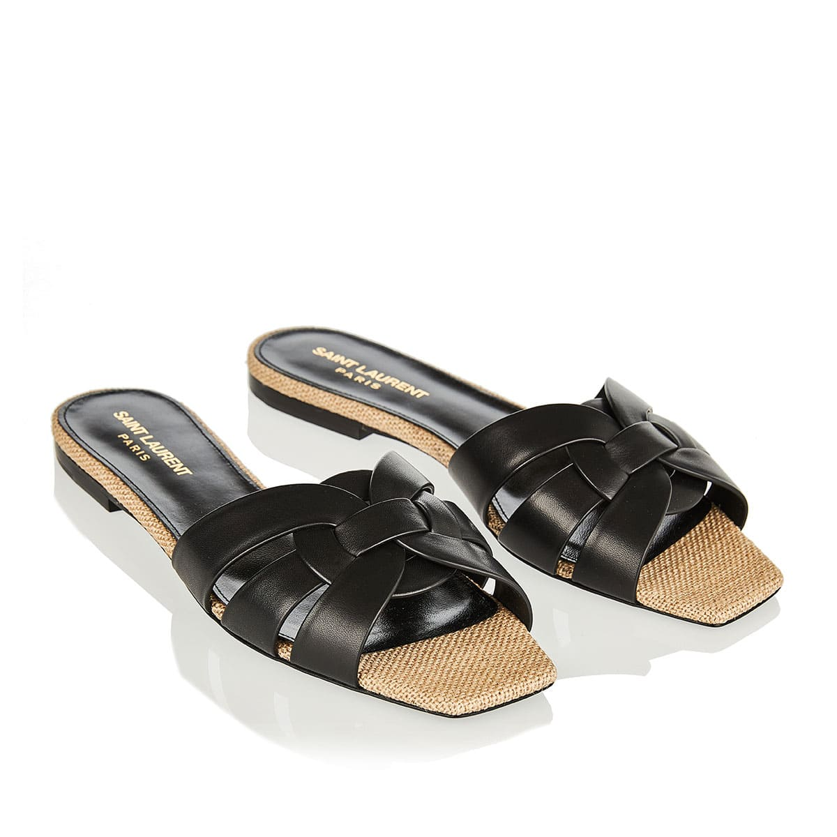 Tribute leather and rope flat sandals