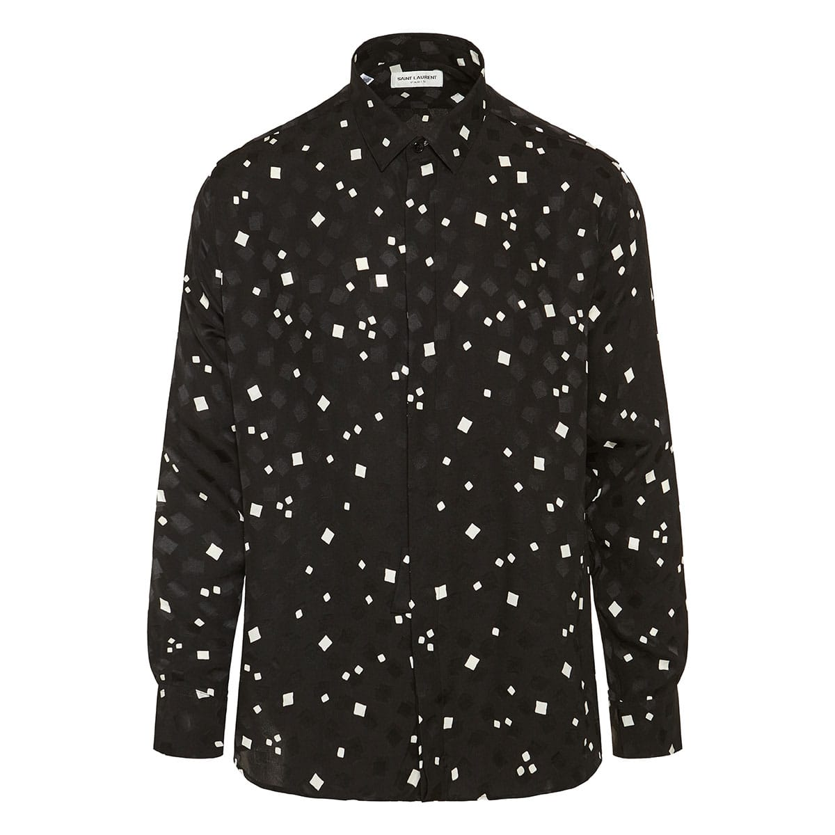 Graphic-print jacquard silk shirt